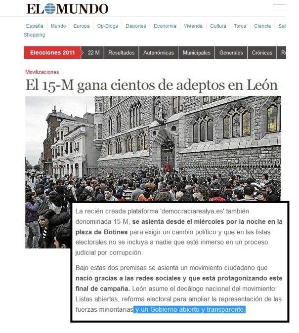 15M gana adeptos en Leon